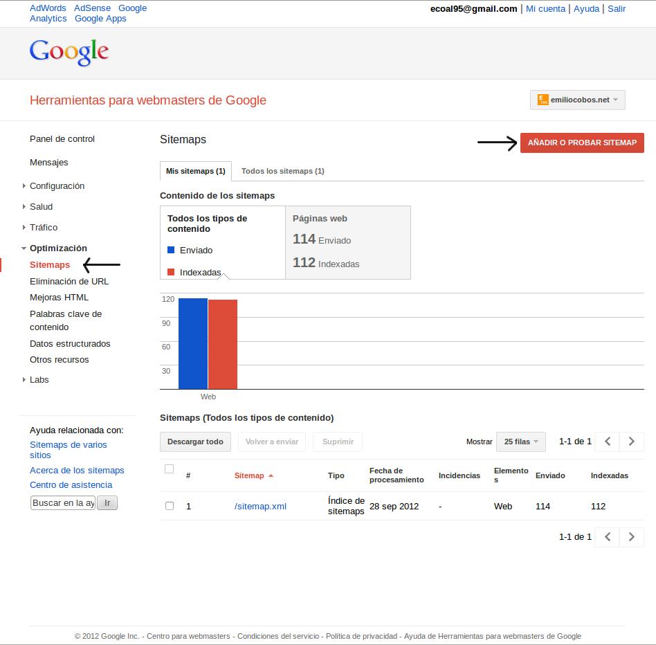 Añadir sitemap en Google Webmaster Tools