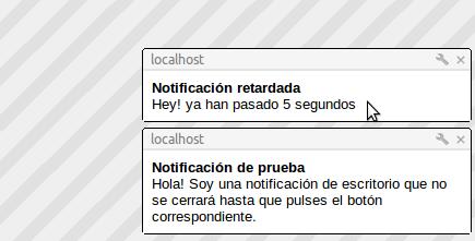 Notificación via javascript y window.Notification
